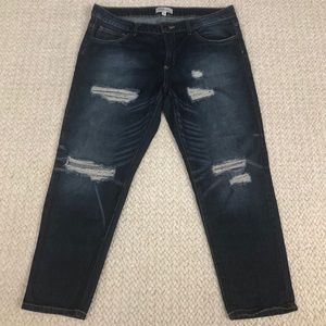 Cello Jeans | Shredded Slim Dark Wash Boyfriend